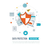 Social network security and data protection. Investment security. Royalty Free Stock Image