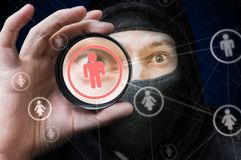 Social network security and privacy concept. Hacker is spying on user account.  Royalty Free Stock Images