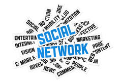 Social Network Sign. Cut pieces of paper with text on social media theme. Isolated on white Stock Photography