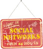 Social network sign. Vintage social media and networks sign, grungy old style Stock Image