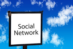 Social network sign in the sky Stock Photo
