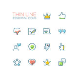 Social Network Signs - Thin Line Icons Set Royalty Free Stock Photography