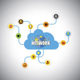 Social network, social media, cloud computing - concept vector i Stock Image