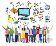Social Network Social Media Diversity People Celebration Concept Royalty Free Stock Photo