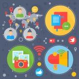 Social Network and Social Media flat concept design. Media icons in circles. Digital marketing infographics template. Banner design. Vector illustration Stock Image