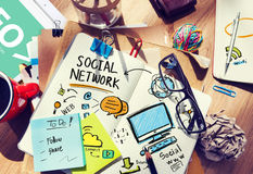 Social Network Social Media Office Desk Workplace Concept stock photo