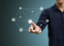 Social network structure. Business man and social network structure concept Royalty Free Stock Images