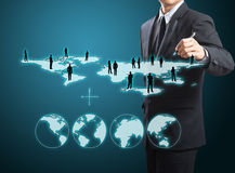 Social network structure. Business man drawing social network structure Stock Photos