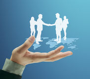 Social network structure in  hand Royalty Free Stock Photo