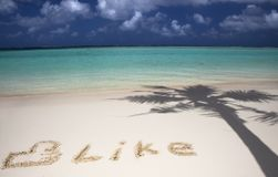Social network symbol on the beach Stock Photo