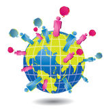 Social network symbol people on Earth Royalty Free Stock Image