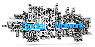 Social network tag cloud Stock Photo