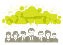 Social network talk and speech bubbles illustration with social media icons Royalty Free Stock Photo