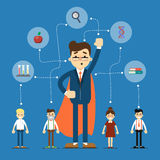 Social network and teamwork banner. With connected people near businessman in superhero cloak, vector illustration on blue background. Communication mapping Royalty Free Stock Photo