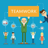 Social network and teamwork banner. With group of communication people, vector illustration on blue background. Infographic design. Mind map team. Strategic Stock Photography