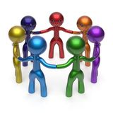Social network teamwork circle people diverse characters. Friendship individuality team seven different cartoon friends unity meeting icon concept colorful. 3d Stock Image