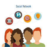 Social network teamwork communication design Stock Photos