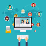 Social network and teamwork concept for web and info graphic.  Stock Photography
