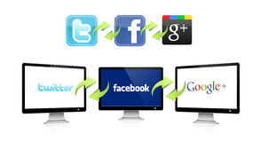 Social network technology. The logos of the most important social networks on a display, connected to each other. There is a connection between the various Royalty Free Stock Image