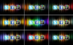 Social network technology. The logos of the most important social networks, connected to each other on different colored backgrounds. There is a connection Stock Photo