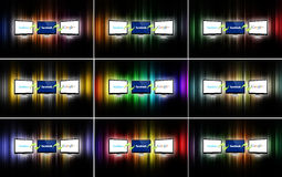 Social network technology. The logos of the most important social networks on a display, connected to each other on different colored backgrounds. There is a Royalty Free Stock Photography