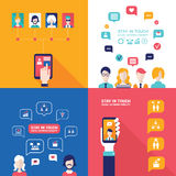 Social Network Technology Banner set People using various electronic devices. Tablet and Mobile phone applications Stock Images