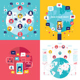 Social Network Technology Banner set User Communications on web concept. Vector illustration Royalty Free Stock Photo
