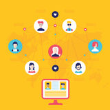 Social Network Technology concept Computer and User Communications on web. Vector illustration Royalty Free Stock Images