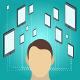 Social network and technology concept. Mobile device in flat Isometric style with man head. Royalty Free Stock Photography