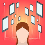 Social network and technology concept. Mobile device in flat Isometric style with woman head. Royalty Free Stock Images