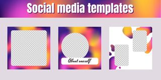 Social network templates. Square banners with liquid gradient me stock photography