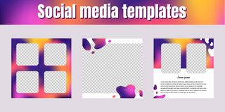 Social network templates. Square banners with liquid gradient me royalty free stock images