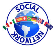 Social network text around earth globe Royalty Free Stock Photography