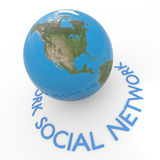 Social network text around earth globe. Concept. Royalty Free Stock Photography