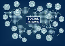 Social network text with world map and  icons of people. Concept of social networking across the world Stock Images