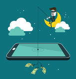 Social network thief stealing money by fishing dol Stock Photography