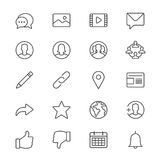 Social network thin icons Royalty Free Stock Images