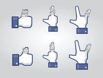 Social network thumbs with plasters Stock Images