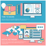 Social network and time to work Stock Images