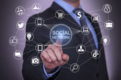 Social Network on Touch Screen Stock Image