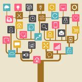 Social network tree background of SEO internet Stock Images