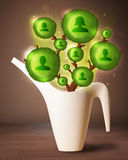Social network tree coming out of flowerpot Royalty Free Stock Photography