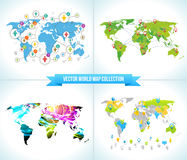 Social Network. Various shapes sparkling Pictograms set. Collection Flat Design concept with World Maps. Team  Chatting Stock Photos
