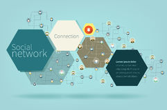 Social Network Vector Concept. Flat Design Stock Illustration
