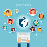 Social Network Vector Concept. Flat Design Illustration for Web Royalty Free Stock Photo