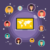 Social Network Vector Concept. Flat Design Illustration for Web Royalty Free Stock Images