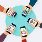 Social Network Vector Concept. Set of social media icons. Flat D Royalty Free Stock Photos