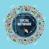 Social network vector logo design template. people Royalty Free Stock Image