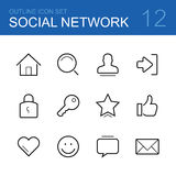 Social network vector outline icon set Stock Photography