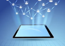 Social network via tablet device graphic Stock Image